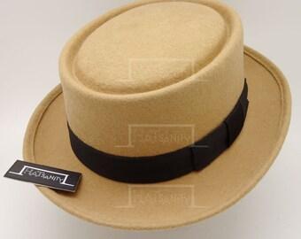 Vintage x Trendy Wool Felt Pork Pie Hat - Beige