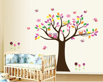 Colorful Tree wall decal - Tree, Owls, Birds - Nursery wall sticker - Kids room decor