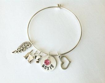 Dog memorial bracelet pet memorial gift dog remembrance jewelry dog sympathy gift pet memory pet loss gift personalized dog memorial jewelry
