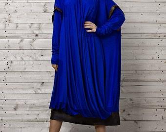 Maxi Dress / Blue Oversize Dress / Plus Size Dark Dress / Long Blue Evening Dress / Blue Maxi Dress by METAMORPHOZA