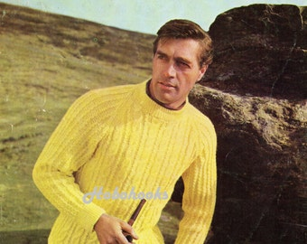 Mens sweaters knitting pattern 4 ply pullovers v neck by Hobohooks