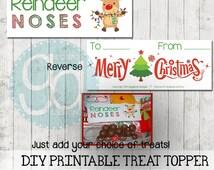 Instant Download Reindeer Noses Treat Topper Christmas DIY Printable 110 x 90 mm Digital Graphic Design