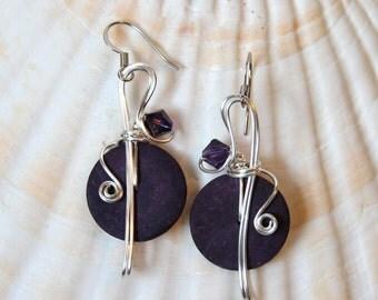 Deep Purple Jewelry, Purple Earrings, Purple Jewelry, Dark Purple, Bead and Wire, Funky Earrings, Violet Jewelry, Bohemian Earrings