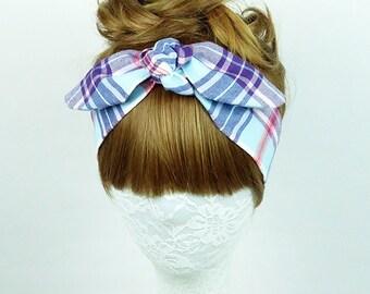 Blue Plaid headband, workout headband, Women's headband, Twist turban, knot headband, yoga headband, headpiece