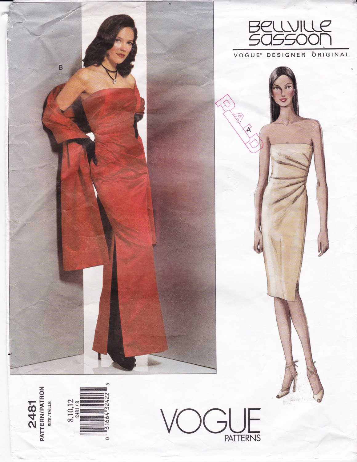 vogue sewing pattern 2481 long strapless gown and stole
