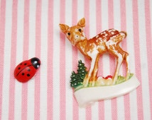 Vintage DDR Bambi brooch, cute colorful brown white dotted deer and wood animal pin for kids, collectible accessory from Germany, 1980s