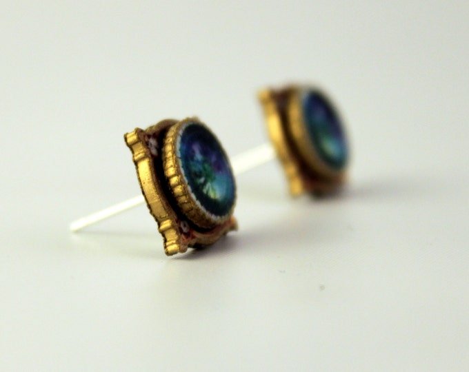 Faux Antique Gold and Iridescent Blue and Purple Gemstone Look Stud Earrings - shrink plastic - art - fashion