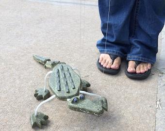 Alligator Marionette - Wooden Puppet Pets