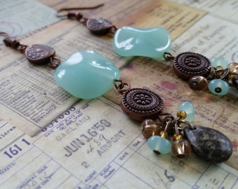 Unique Wavy Shaped Aqua and Brown Beaded Dangle Earrings, with Decorative Copper Metal Beads, Boho, Found Objects, - Hang Three Inches.