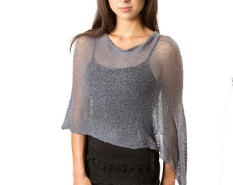 Grey Poncho, Womens Knit Poncho, Infinity Poncho, Womens Poncho,   Resort Wear, Summer Poncho, Blue Grey 108