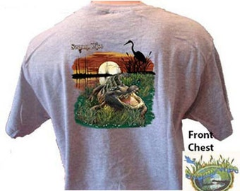 SWAMP WISE ALLIGATOR and Heron Bird Southern T-Shirt