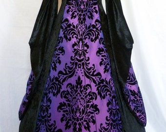 Goth dress medieval gown pagan costume black velvet and purple embossed taffeta Renaissance wedding custom made to any size