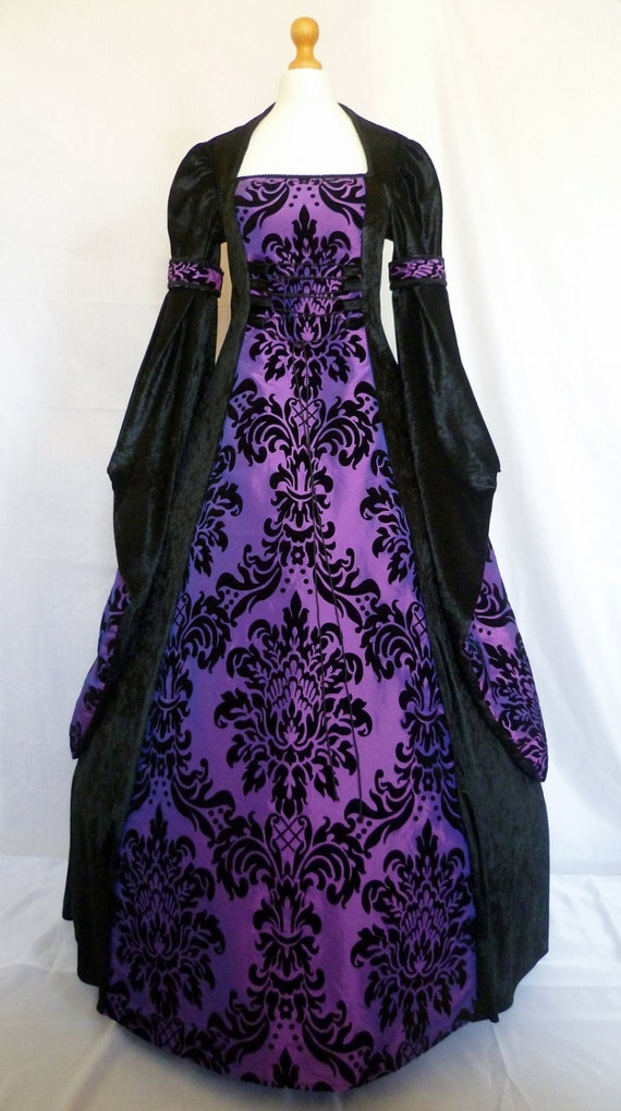 Gothic Dress Medieval Gown Pagan Costume Black And Purple
