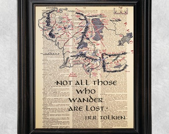 Not All Who Wander Are Lost Quote, Dictionary Art Print, Lord of the Rings, Tolkien, Vintage Antique Book Page, Upcycled, 8x10 Print  (#111)