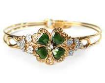 St. Patrick's Day Bracelet, 4 Leaf Clover, Sharmrock, Good Luck, Lucky Bangle Bracelet, Flower Bangle, St. Paddy's Day Jewelry BR350