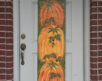 3 Pumpkins Thanksgiving Canvas Door Decoration