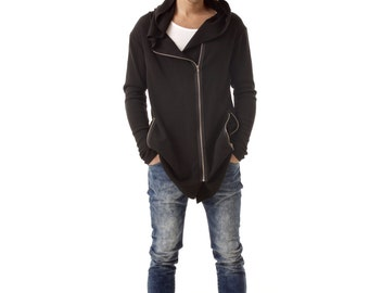 Zip-up mens hoodie FRANK black cardigan