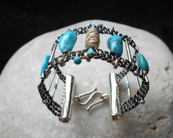 Loom woven Cuff Bracelet - Turquoise Gems & Sterling Silver - handmade weaving in turquoise, black and silver - fiber art jewelry