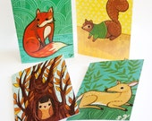 Forest Friends Woodland Animals Card Set - blank cards with envelopes - forest animals cards sets blank card set