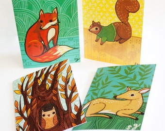 ANIMAL CARDS - blank cards with envelopes - woodland animals, note cards, blank card set, nature inspired, wild animal, forest animal, cards