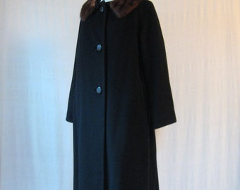 SALE Cashmere Coat 50s Black Coat with Mink Collar Fur Collar Coat 1950s - Large