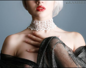 Lace Spiderweb Choker by Kambriel - Made from Vintage English White Cotton Lace