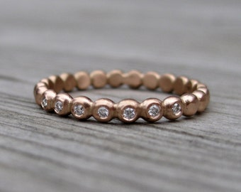 SALE: Diamond Seedling Wedding Band; Rose Gold, Sizes 5.5 and 6.25, Ready to Ship