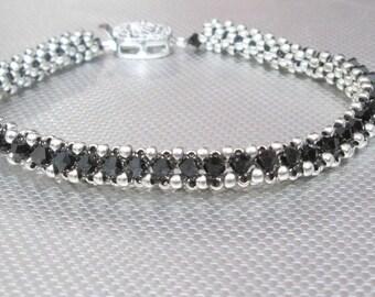 black crystal bracelet beaded jewelry swarovski bracelet sterling silver goth jewelry swarovski bracelet boho bracelet