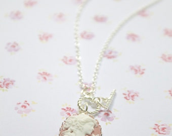 Pink Lady Victorian - Toggle  Cameo  Necklace- Womens