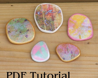 Paper Pebble Tutorial PDF - How to make pendant, earring, brooch components