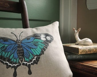 hand block printed blue or orange butterfly linen home decor rustic woodland natural gray colorful decorative pillow cover 12 x 16
