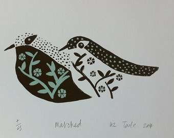 Matched  limited edition screen print by Liz Toole