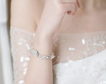 Wedding Bracelet ,Bridal Bracelet, Crystal Bracelet, Cascade Cluster Bracelet ,Opal Bracelet , Swarovski Crystal Bracelet , Wedding Jewelry