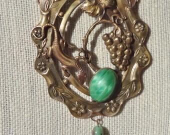Art Nouveau Necklace Lizard in the Grapevines