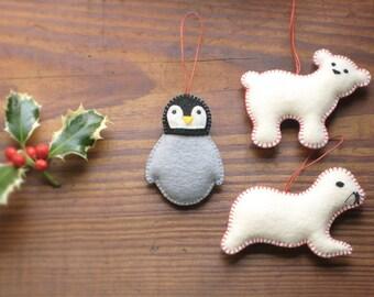 PENGUIN, SEAL & Polar BEAR Christmas + Holidays Ornaments, Soft Sculpture Organic Cotton—Manchot Ours Phoque noël/Pingüino Oso Foca navidad