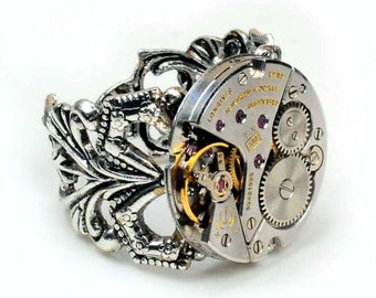 Steampunk Vintage Longines Watch Movement Adjustable Ring