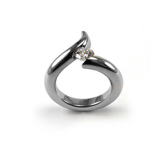 White Sapphire Engagement Ring Tension Set Stainless Steel