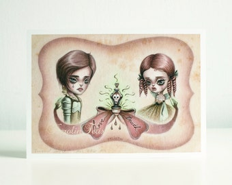 Romeo and Juliet - poisoned love story - 8x10 signed art print - pop surreal big eyes art - by KarolinFelix