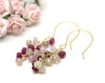 Ruby Gemstone Cluster Earrings in Gold | Genuine Ruby Precious Stones in Red, Pink and White |  Bridal Jewelry | Handmade by Azki