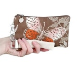 Bag Sale: Butterfly clutch is a womens small purse handmade with vintage fabric - wristlet style handbag for nature lover