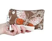 Butterfly clutch - womens small purse - brown & pink wristlet - vintage fabric handbag