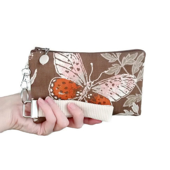 Butterfly clutch is a womens small purse handmade with vintage fabric - wristlet style handbag for nature lover