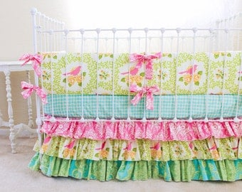 SALE 30% OFF Baby Girl Crib Bedding -  Pink Garden District Crib Set