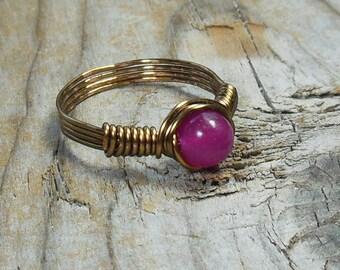 Hot Pink Jade 6mm stone , antique brass gold wire wrapped ring - size 6 - gemstone - handmade - men women unisex jewelry