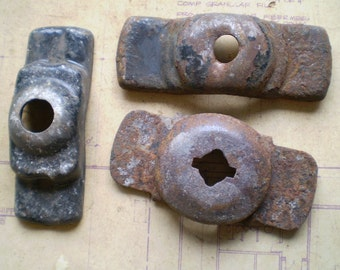 3 Rusty Iron Parts Mounts Bases - Industrial Salvage - Found Objects for Assemblage, Sculpture or Altered Art