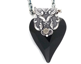 Gothic Black Swarovski Crystal Heart of Love Necklace in Antiqued Silver plated Brass Filigree by Dr Brassy Steampunk