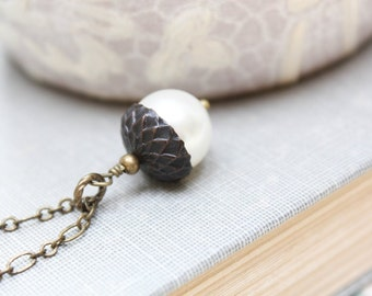 Pearl Acorn Necklace Dark Brown Patina Brass Charm Pendant Autumn Oak Rustic Woodland Jewelry Nature Tree Necklace Christmas Gift Under 25
