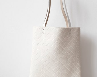 Ivory Tote bag No.Tw- 201 rhombs light leather