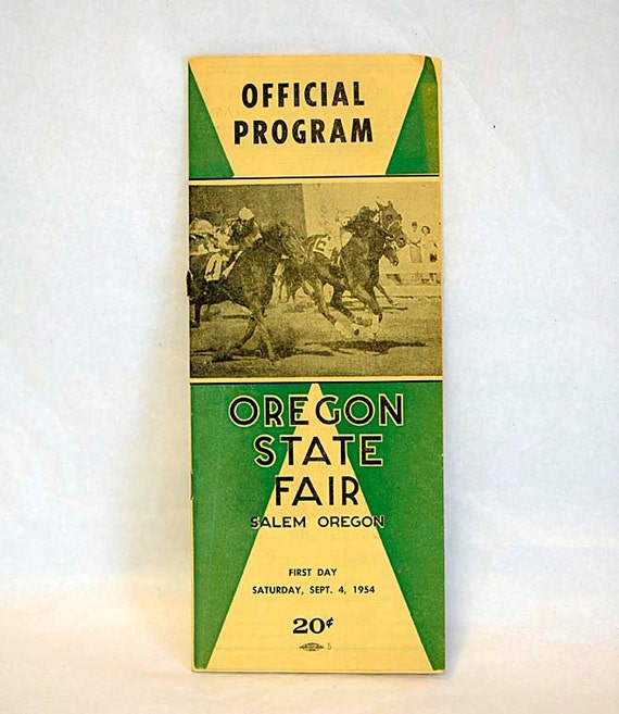 Vintage OREGON STATE FAIR Horse Racing Official Program Dated Sep. 4, 1954