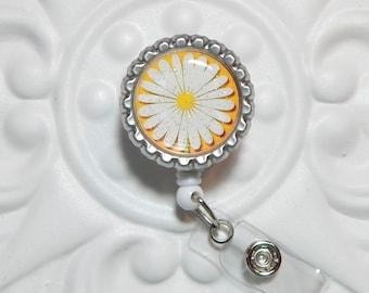 Daisy Retractable Badge Holder - Bottle Cap Id Badge Reel - Nurse Badge Id Reel - Teacher Gifts